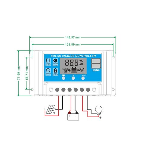 PVI-PWM-10A Solar Charge Controller (10 A) Preview 3